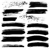 Black paint splash strokes vector design grunge elements