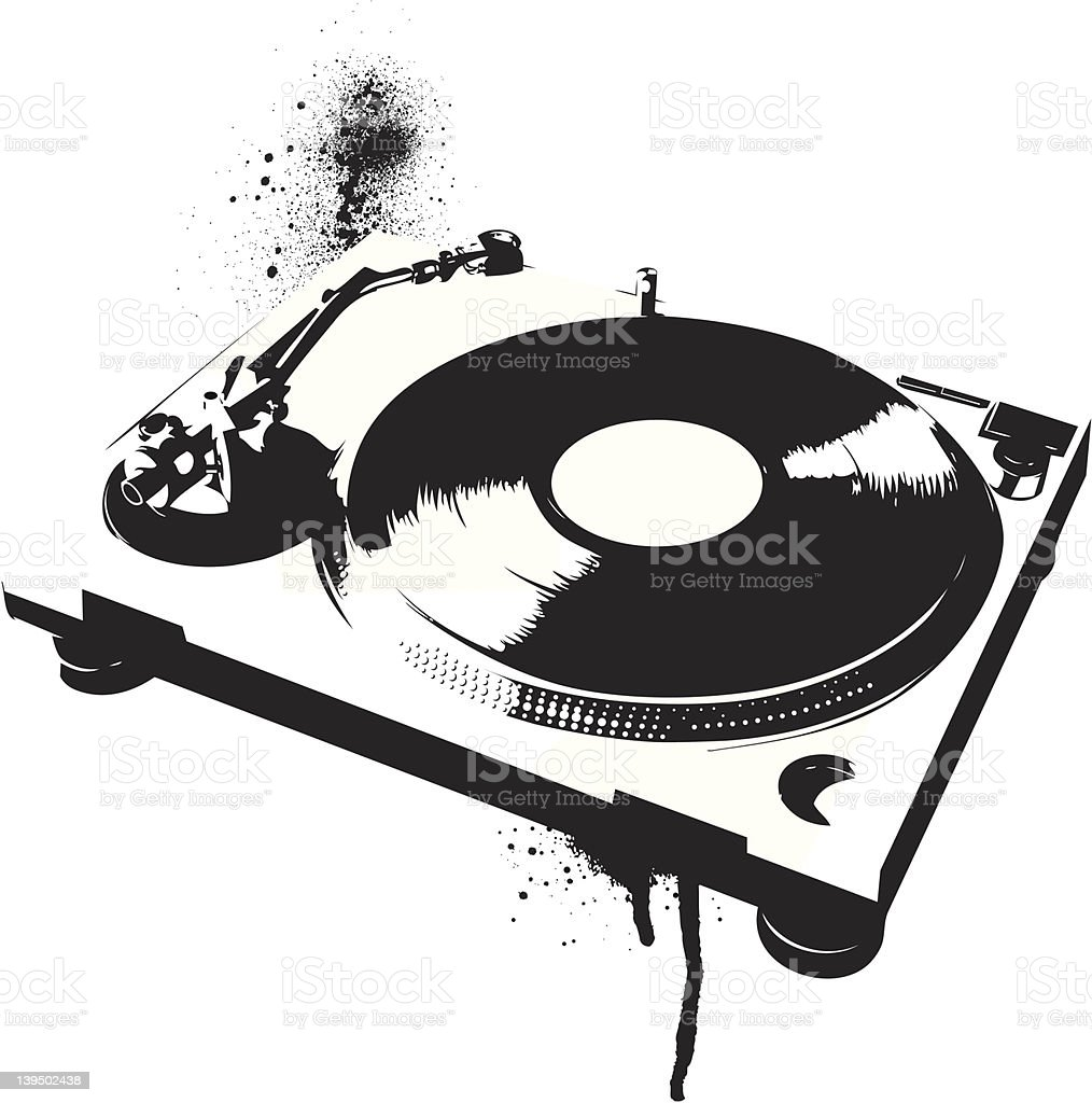 Black painted image of a record turntable vector art illustration