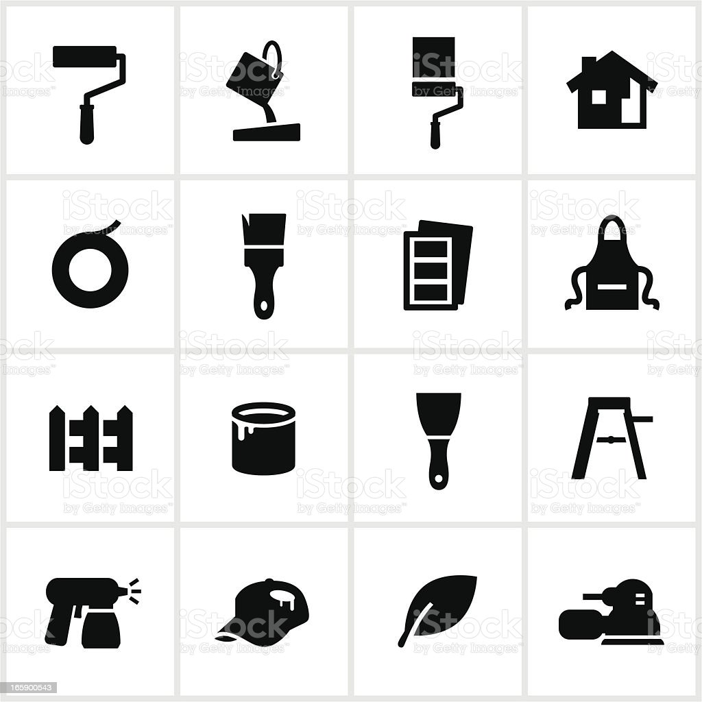 Black Painting Icons royalty-free stock vector art