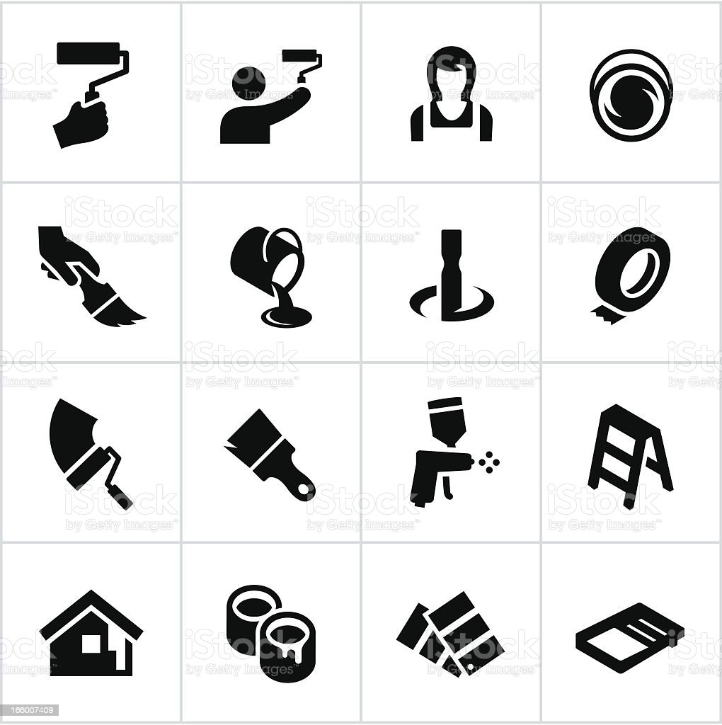 Black Painting Icons vector art illustration