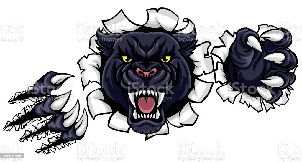 Black Panther Background Claws Breakthrough vector art illustration
