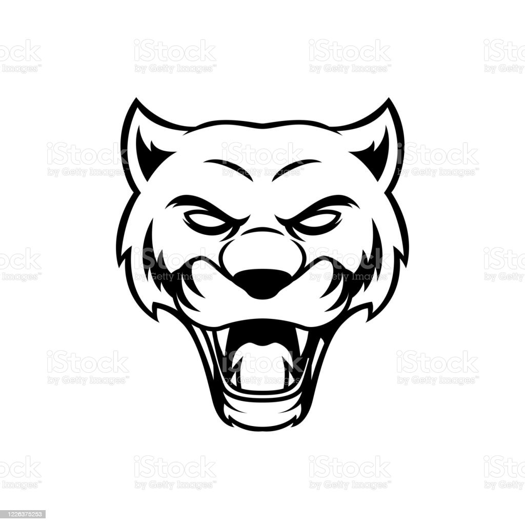 Black Panther Cat Head Outline Tattoo Handrawn Vector Design Stock Illustration Download Image Now Istock