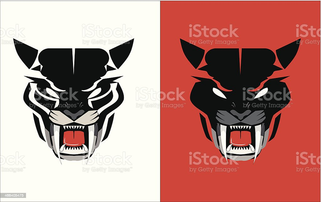 black panther head icon vector art illustration