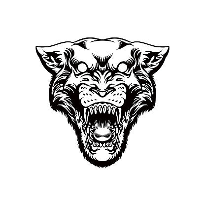 Black panther head mascot logo Silhouette illustrations for your work Logo, mascot merchandise t-shirt, stickers and Label designs, poster, greeting cards advertising business company or brands.