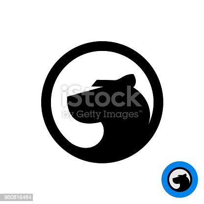 Black Panther Head Symbol In A Round Badge Stock Vector Art More