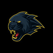 Black panther head mascot esport, sport symbol