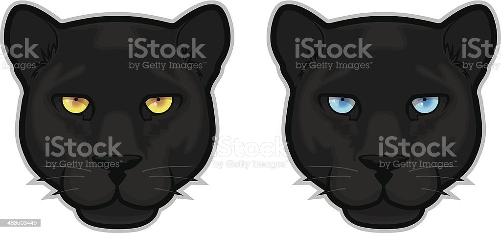 Black Panther Heads vector art illustration