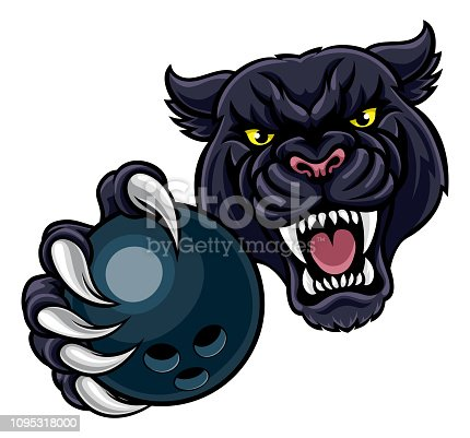 A black panther angry animal sports mascot holding a ten pin bowling ball