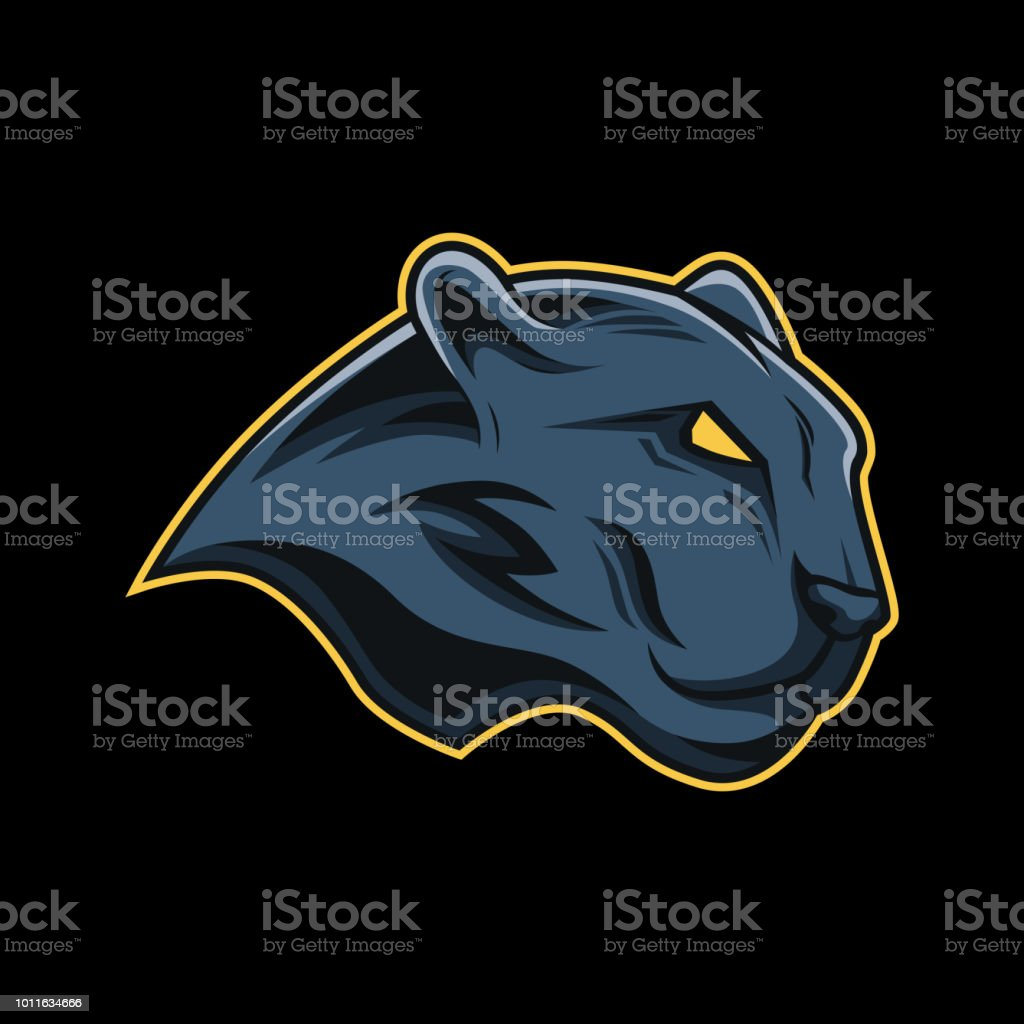 Black panther mascot logo vector art illustration