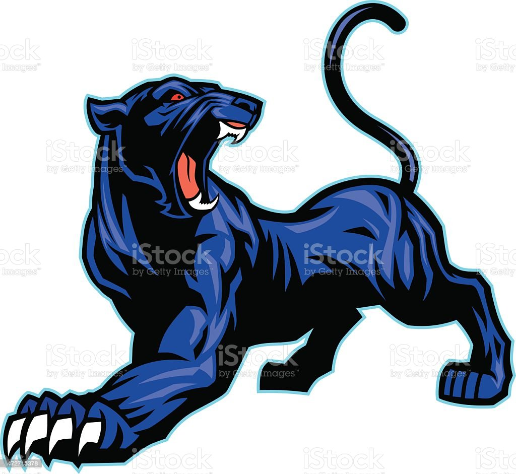 black panther mascot vector art illustration