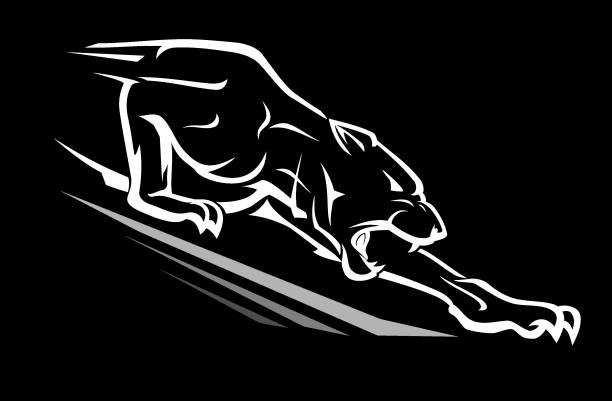Black Panther Reaching Downward vector art illustration