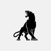 black panther sign emblem silhouette vector illustration on white background