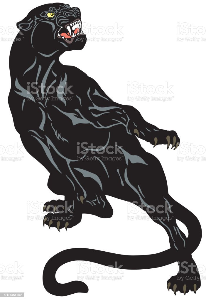 black panther tattoo vector art illustration