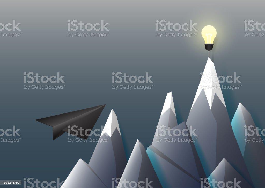 Black paper airplane flying to light bulb on the mountain. black paper airplane flying to light bulb on the mountain - stockowe grafiki wektorowe i więcej obrazów abstrakcja royalty-free