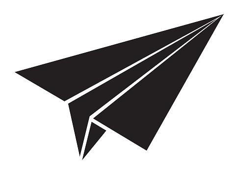 Black Paper Airplane Icon