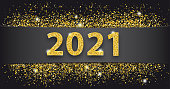 Black paper banner with golden sand and text 2021.  Eps 10 vector file.