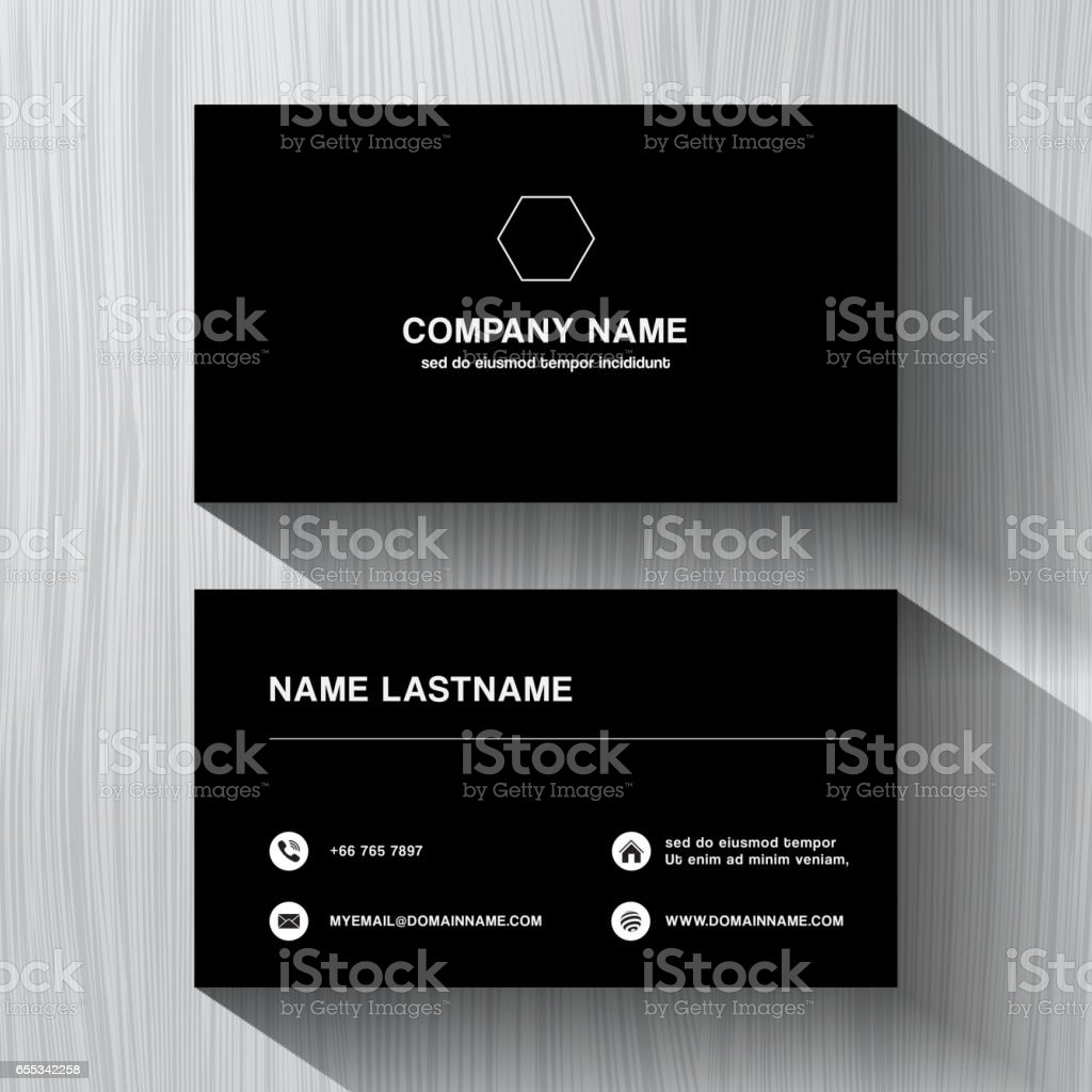 ... Black Paper Business Namecard On A White Wood Background Vector Art  Illustration ...