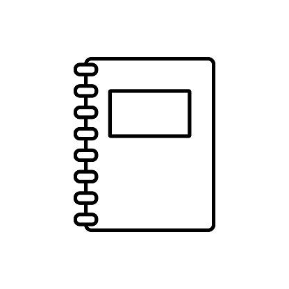 Black Paper notebook icon, flat design.