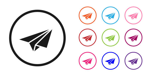 Black Paper plane icon isolated on white background. Paper airplane icon. Aircraft sign. Set icons colorful. Vector Illustration Black Paper plane icon isolated on white background. Paper airplane icon. Aircraft sign. Set icons colorful. Vector Illustration abstract clipart stock illustrations