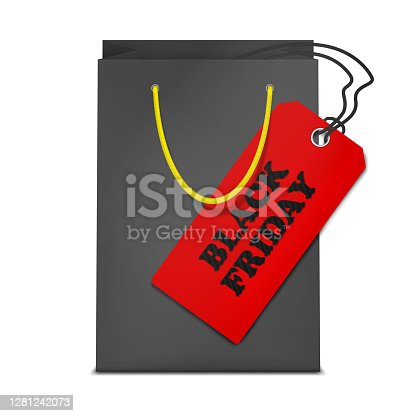 Black paper shopping bag with big red label tag isolated on white background, vector illustration. Black Friday sale concept.