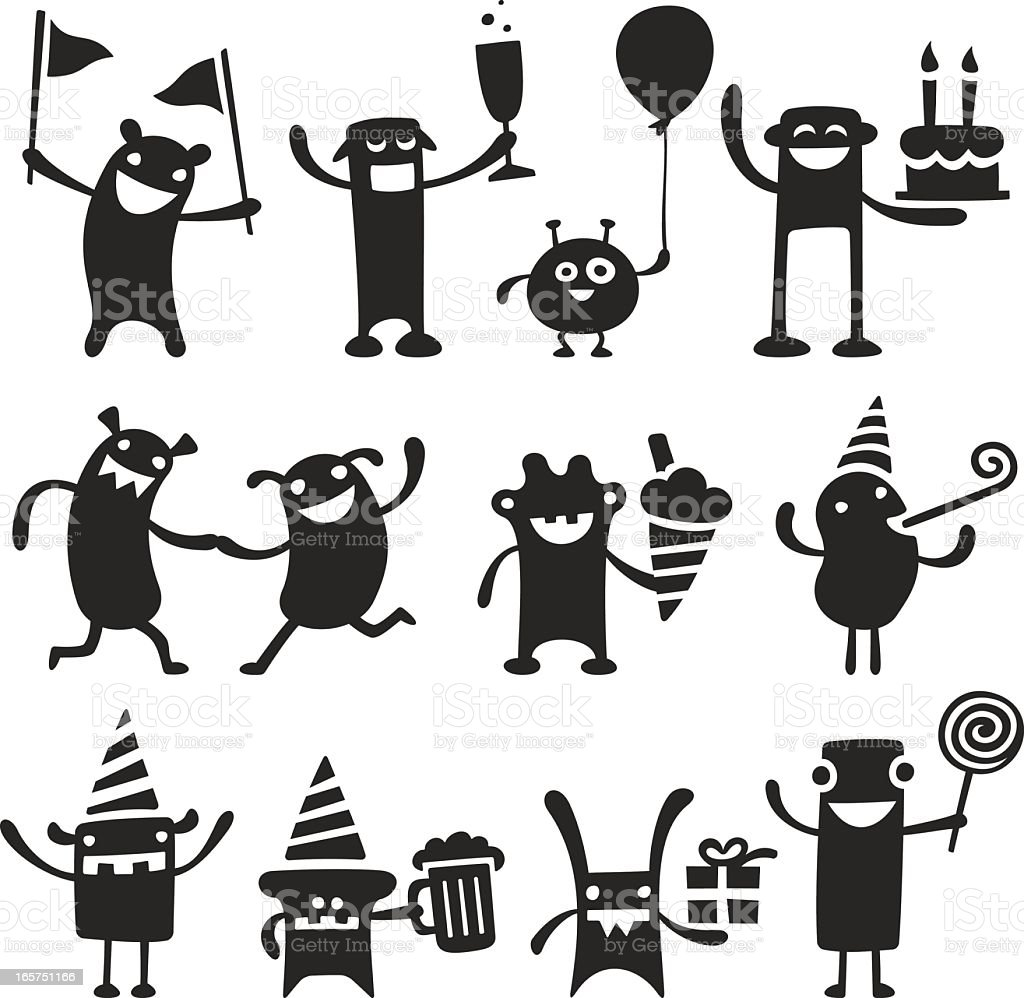 Black partying monster characters on white background royalty-free black partying monster characters on white background stock vector art & more images of alcohol