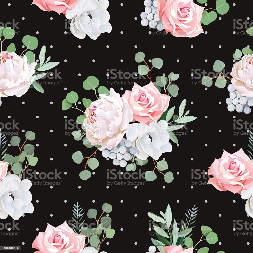 Black pattern with bouquets of rose, peony, anemone, brunia vector art illustration