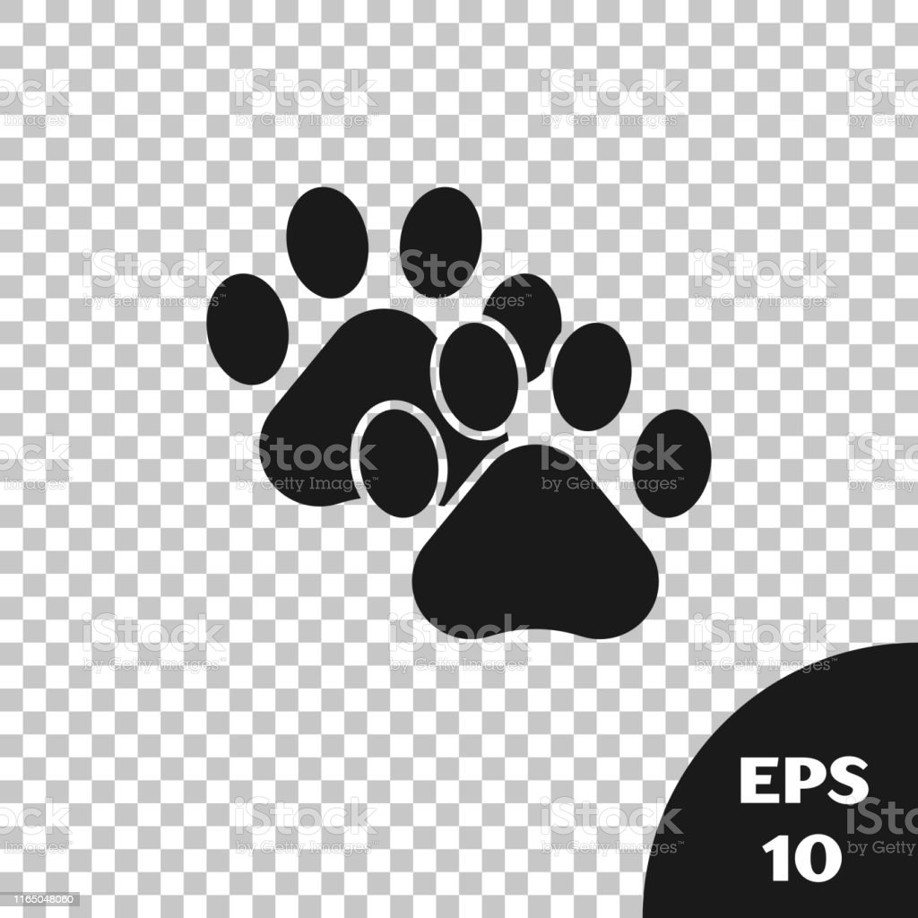 Black Paw print icon isolated on transparent background. Dog or cat...