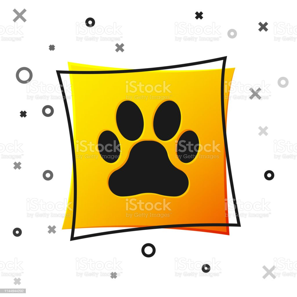 Black Paw print icon isolated on white background. Dog or cat paw...
