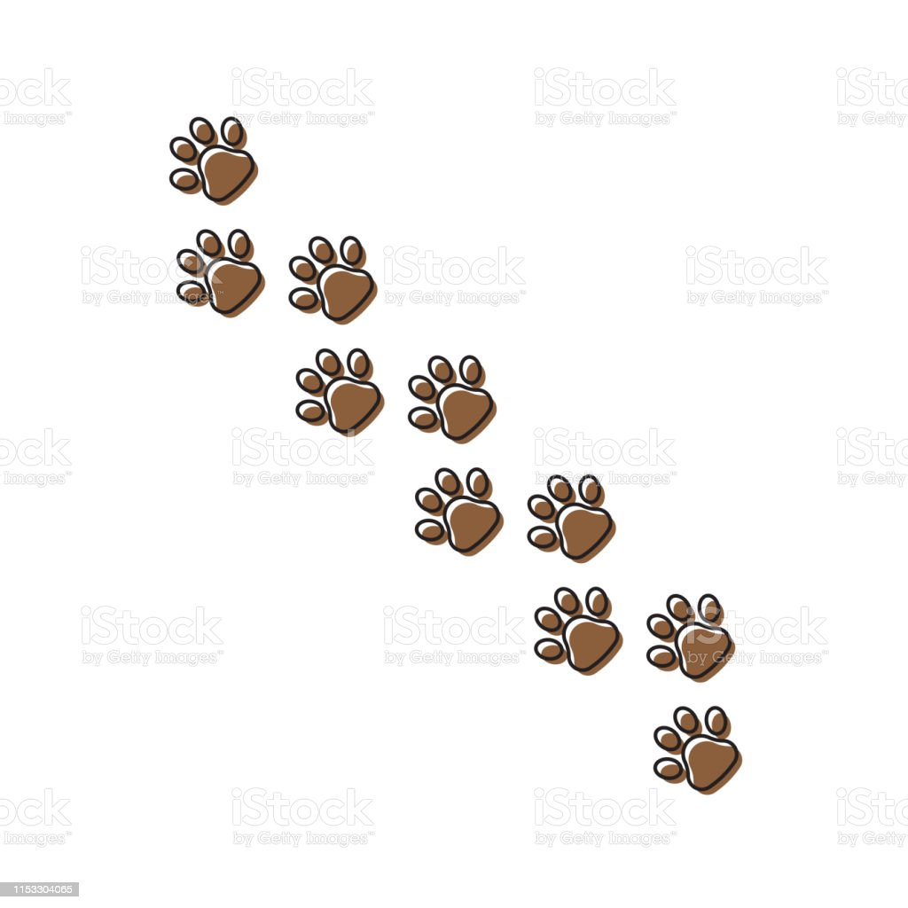 Black Paw Print vector icon, isolated on white background
