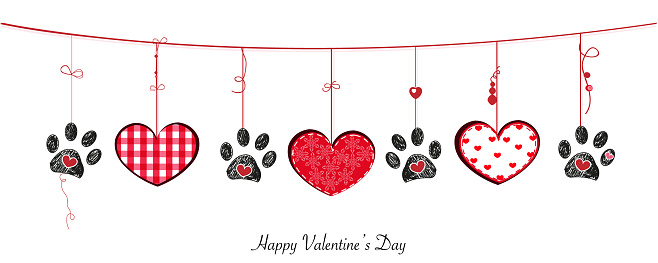 Black paw prints with hanging retro beautiful hearts. Happy Valentine's Day banner style background vector design element. Happy Valentine's day greeting card