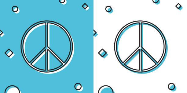 ilustrações, clipart, desenhos animados e ícones de ícone do sinal da paz negra isolado no fundo azul e branco. símbolo hippie da paz. formas dinâmicas aleatórias. ilustração vetorial - desenhos aleatórios e à mão livre