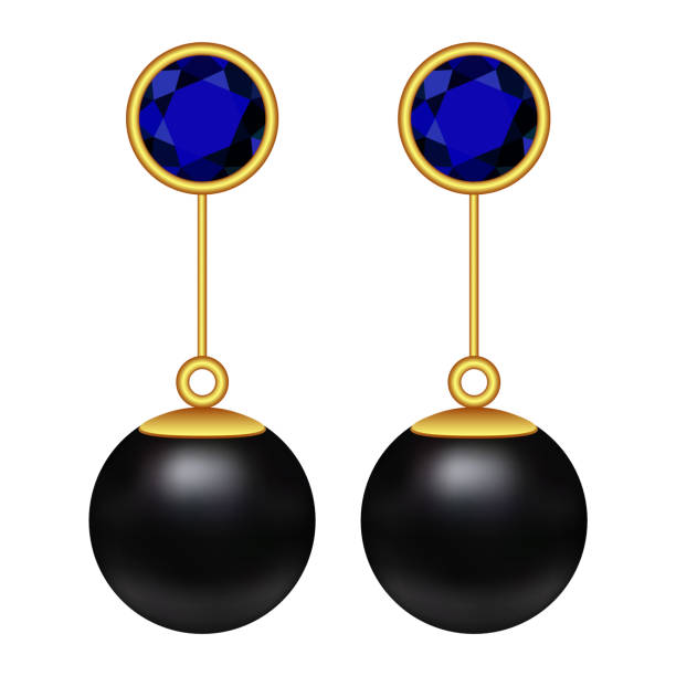schwarze perle ohrringe mockup, realistischen stil - glasohrringe stock-grafiken, -clipart, -cartoons und -symbole