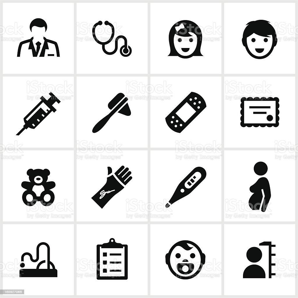 Black Pediatrician Icons vector art illustration