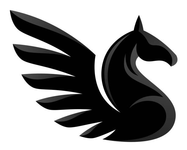 black pegasus - pegasus stock illustrations