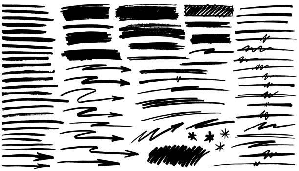 Black pen marker shapes vector art illustration