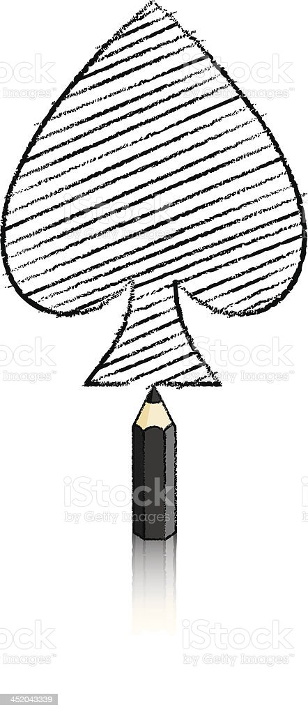 Black Pencil Drawing Ace of Spades Playing Card Icon royalty-free stock vector art