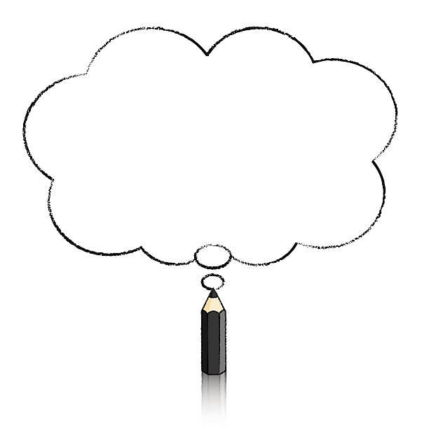 Schwarzer Pencil Drawing Flauschigen Wolken Gedanken Balloon Stock