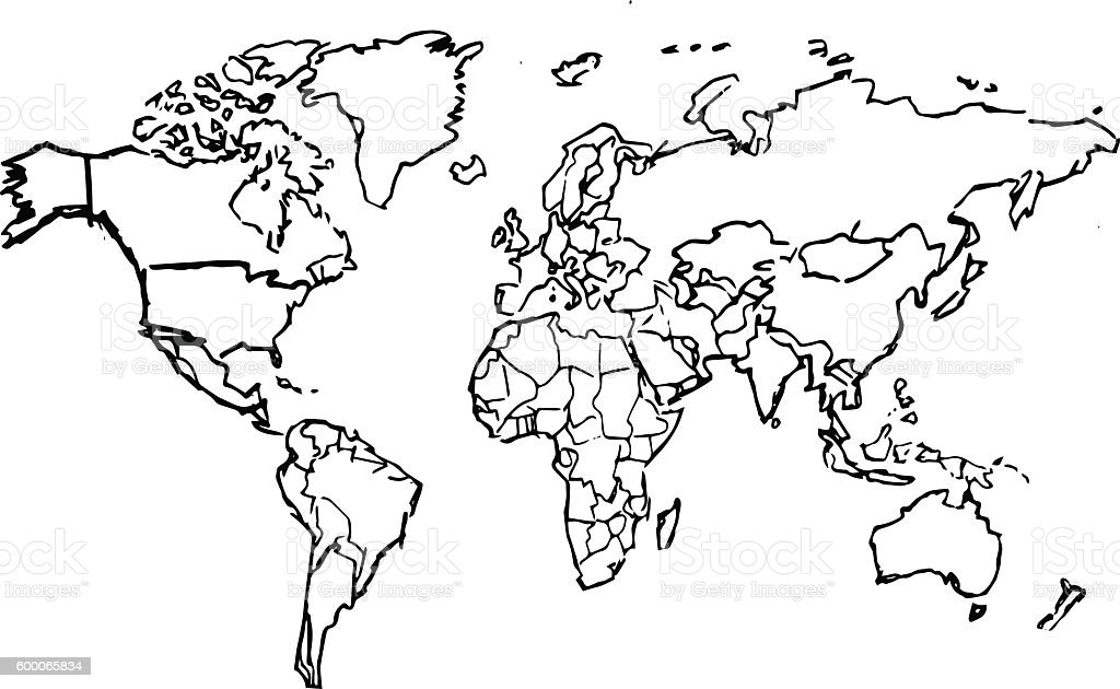 Line Drawing World Map : Black pencil drawing sketched world map on white
