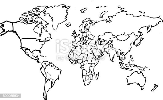 Black pencil drawing sketched world map on white background stock black pencil drawing sketched world map on white background stock vector art more images of black color 600065834 istock gumiabroncs Image collections