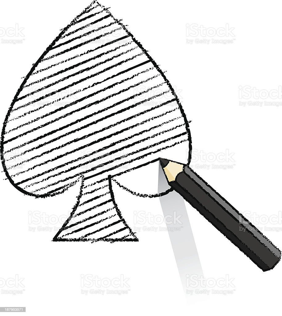 Black Pencil Shading Ace of Spades Playing Card Icon vector art illustration