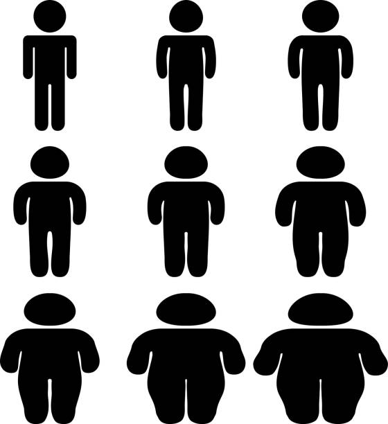black person silhouette who is losing weight - lalka stock illustrations