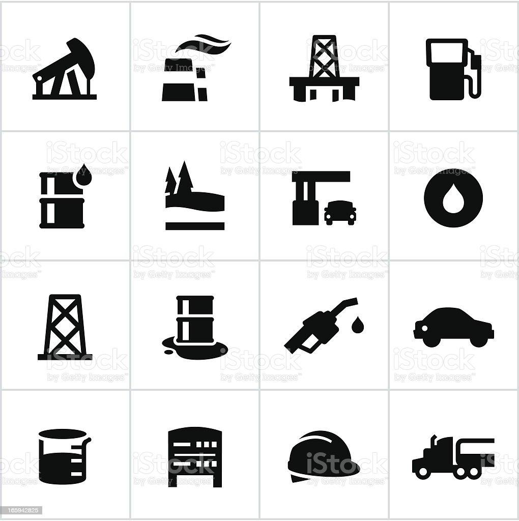 Black Petroleum Industry Icons vector art illustration