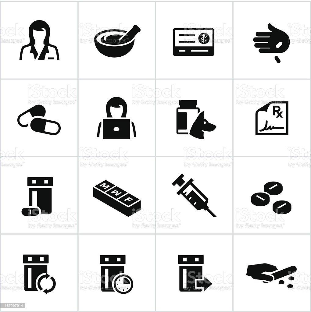 Black Pharmacy Icons royalty-free stock vector art