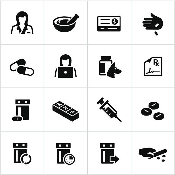 Black Pharmacy Icons Pharmacy and Medicine related icons. All white strokes/shapes are cut from the icons and merged allowing the background to show through. pharmacist stock illustrations