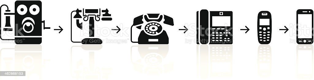 Black Phone Evolution vector art illustration