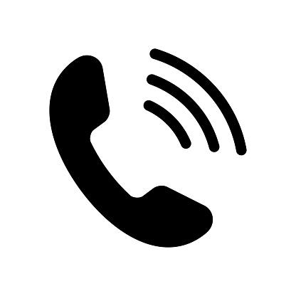 Black phone icon on white background. Vector illustration