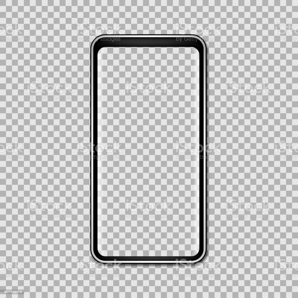 Black phone mock up with blank screen isolated on transparent background. Vector illustration. vector art illustration