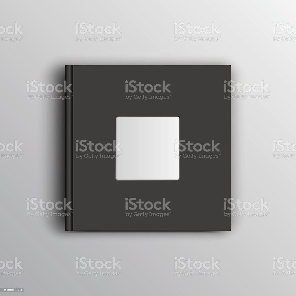 Black photo book mock up vector art illustration
