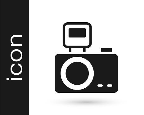 Black Photo camera with lighting flash icon isolated on white background. Foto camera. Digital photography. Vector