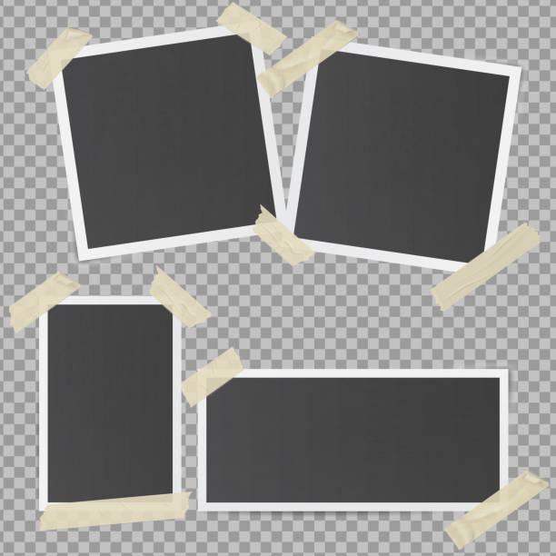 Black photo frames glued with transparent adhesive tape vector art illustration